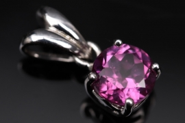 Silver necklace pendant with purple cubic zirconia