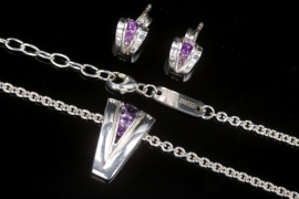 Set | Silver Necklace and Earrings with Amethysts
