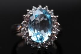 Silver topaz cluster ring
