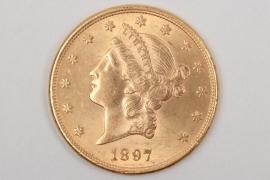 "USA - 1897 Liberty Head ""20 Dollars"" gold coin"