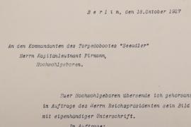 """Pirmann, Adolf - Torpedoboot """"Seeadler"""" signed letter"""