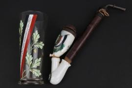 """Imperial Germany - Patriotic """"Armee Abt. Gaede"""" pipe and beer glass"""