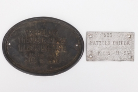 Imperial Germany - two grave cross name tags