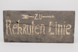"Imperial Germany - WWI trench sign mark ""Rekrutenlinie"""