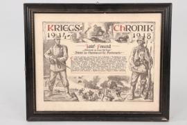 Bavaria - WW1 war chronicle to infantryman Freund