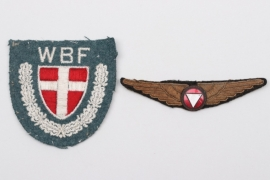 Austrian Pilot's Badge & Danish WBF sleeve badge
