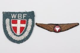 Austrian Pilot's Badge & Danish WBF sleeve badge