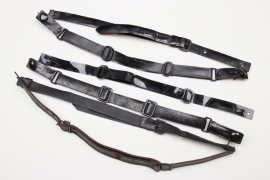 6 + Third Reich visor cap chin straps - EM/NCO type