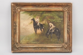 Imperial Germany - oil two cuirassiers on horse
