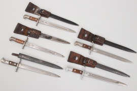 5x Switzerland - bayonets with leather frog