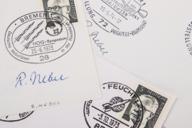 Nebel, Robert - three special postmarks with signature of the scientist