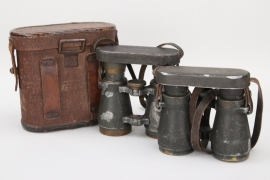 "2 x WWI ""Fernglas 08"" binoculars with case - Rodenstock"
