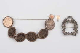 Russian Empire - coin bracelet & silver brooch