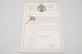 Certificate of the Grand Cross of the Order of Knights of San Marino to Bismarck