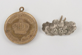 """25 years Jubilee Clasp to 1870 Iron Cross + """"Landwehr"""" medal"""