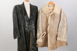 Wehrmacht winter fur jacket + civilian leather coat