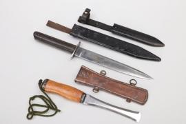 HJ scabbard, Austrian WWI trench knife & Fin Knife