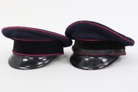 2x Third Reich fire brigade visor caps - same maker!