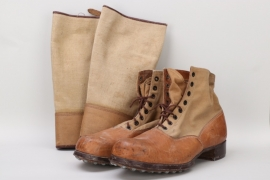 Luftwaffe Afrikakorps tropical shoes with gaiters