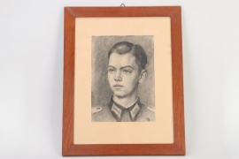 1943 framed charcoal drawing of a Leutnant