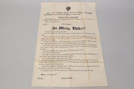 """Austria - WWI poster """"An meine Völker"""" - declaration of war"""