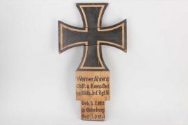 Wehrmacht wooden gravemarker to Oblt. Ahrens
