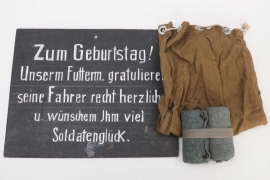 Wehrmacht gaiters, cloth  bag & commemorative sign