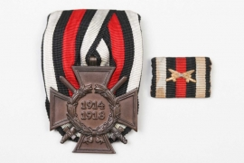 Honor Cross of WWI on medal bar + ribbon bar - R.V.24