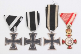Lot of 1914 Iron Crosses 2nd Class & Austrian Merit Cross