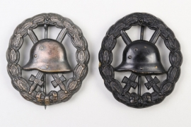 2 x WWI Wound Badge in Black - cut-out type