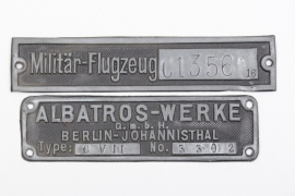 WWI two Albatros C.VII aircarft type plates