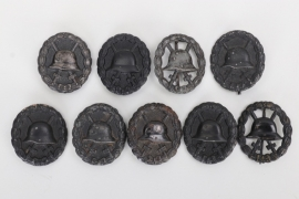 9 x WWI Wound Badge in black