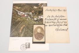 Otto von Bismarck handwritten letter + photo & stamp