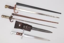 Lot of three international bayonets