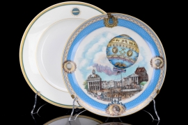 France & Zeppelin - two impressive porcelain plates