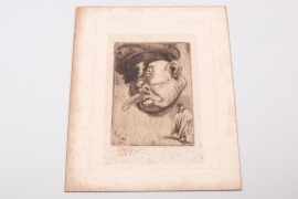 Belgium - etching by Victor Mignot - 3