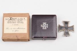 Lt. Ebert 1914 Iron Cross 1st Class in case & outer carton - KO