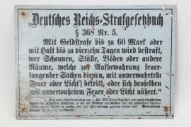 """""""Deutsches Reich Strafgesetzbuch"""" prohibition sign - 35x25 cm"""