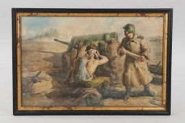 """Russian WW1 watercolor painting """"During Battle"""""""