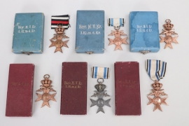 Bavaria - 6 cased Bavarian Military Merit Cross 3rd Class with crown