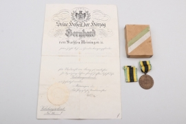 Saxony - Honor Medal in case & certificate