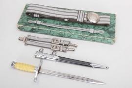 East Germany - NVA officer's dagger with belt in case