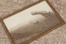 WW1 framed photo of a barrage balloon at ertrambois-Tancarville