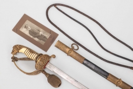 Fischer, Waldemar v. - Naval sword with damascus blade presented by General Hans Geisler