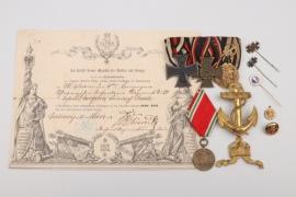 Johann Rath - 3-place medal bar, badges & certificate