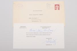 Großadmiral a. D. Karl Dönitz hand-signed card & envelope