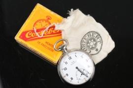 Kriegsmarine service pocket watch in case with bag - Corteberg