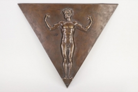 Triangular bronze wall plaque - undressed athlete