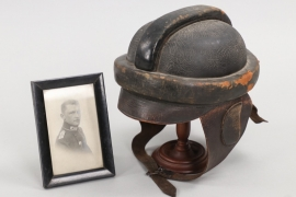 M1913 pilot's crash helmet with pilot's portrait photo