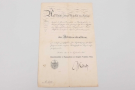 Certificate to Prussian Military Merit Cross 1864